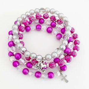 4-Pc Christian Cross Bracelet Set, Gift for Her
